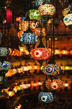 Vintage beautiful illuminated lanterns hanging in small shop by Duet Postscriptum - Lamp, Interior design - Stocksy United Traditional Lamps, Moroccan Lamp, Handmade Lamps, Design Elements, Lanterns, The Unit, Colorful, Lights, Shopping