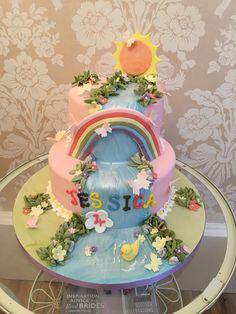 Beautiful waterfall, rainbow and garden birthday cake