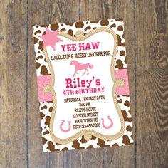Cowgirl Invitation Birthday Invitation Western Birthday Custom Digital File by DesignsbyCarrieLee on Etsy https://www.etsy.com/listing/218934778/cowgirl-invitation-birthday-invitation