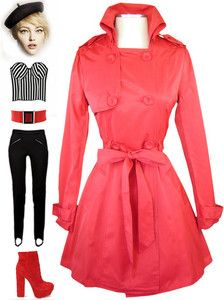 now in stock www.lebombshop.net  pinup, red, collared neckline, sash belt, trench coat, double breast, pockets