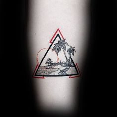 Red And Black Ink Triangle Mens Beach Forearm Tattoo