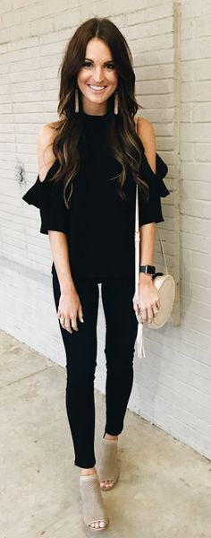 ♡ Pinterest :: Kayleepo ♡ #spring #outfits Black Open Shoulder Top & Black Skinny Jeans & Grey Open Toe Booties