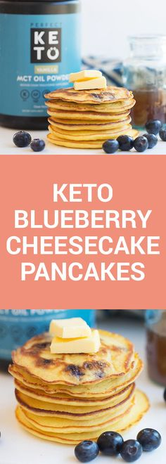 Feel like you are eating dessert for breakfast with these easy to make blueberry cheesecake pancakes that are low carb and bursting with flavor. Cheesecake Pancakes, Keto Pancakes, Blueberry Cheesecake, Waffles, Low Carb Keto, Low Carb Recipes, Healthy Recipes, Protein Recipes, Low Carb Breakfast