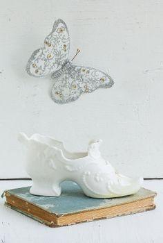 Victorian SHOE Porcelain Planter Vase Desk organizer -