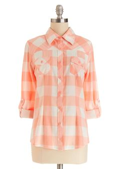 Simply Scout Top in Peach | Mod Retro Vintage Short Sleeve Shirts | ModCloth.com