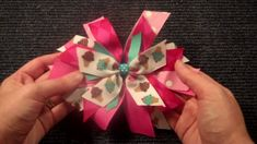 Pinwheel Style hairbow tutorial V.2 (hair bow instructions/tutorial) - she wastes a lot of ribbon by not really measuring, but still good idea for ribbon scraps