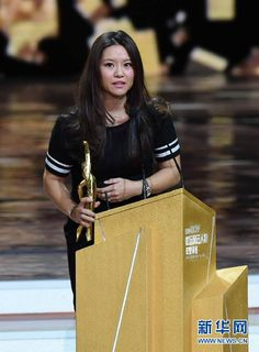 Li Na at the ceremony. China's tennis icon Li Na and swimming rising star Ning Zetao won the Best Female and Male Athletes of the Year separately at the prestigious China's Central Television (CCTV) Sports Awards on Sunday