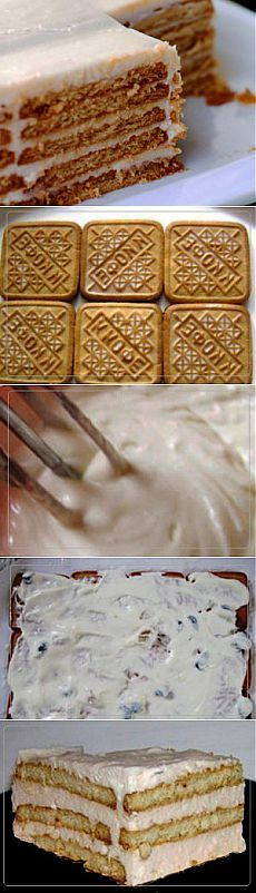 Торт из печенья | Рецепты вкусно Baking Recipes, Cake Recipes, Dessert Recipes, Napoleons Recipe, Lemon Cream Cake, Summer Pudding, Napoleon Cake, Honeycomb Cake, Russian Cakes