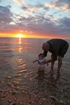 Challenge #2: Honey, you look Beeautiful. A bounty of beauty! The sunset, the water, and most of all- my husband giving our little girl her first salt water dip!