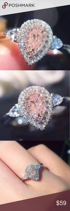💍Pink Pear Shaped Silver plated ring. Absolutely beautiful pink colored cubic zirconia, pear shaped, silver plated ring. Size of crystal: 4mm *6mm Jewelry Rings