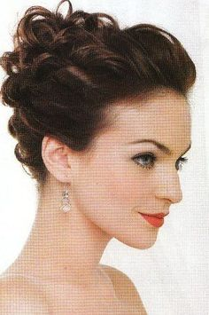 wedding hair, high formal updo, unique, different, pretty, curls along side