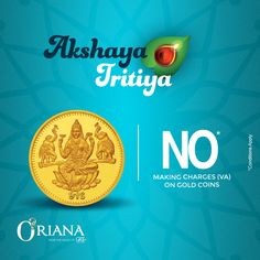 Get all the Happiness and Prosperity on the auspicious day of Akshaya Tritiya! Avail our offers of NO making charge on VA of gold coin! #OrianabyGRT #offer #buynow #prosperity