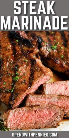 This Steak Marinade recipe only takes minutes to make and uses simple ingredients! Marinate steaks in this flavorful marinade for tender, juicy steak! #spendwithpennies #steakmarinade #recipe #marinade #easy #best #homemade Steak Marinade Recipes, Grilled Steak Recipes, Marinated Steak, Grilling Recipes, Meat Recipes, Cooking Recipes, Homemade Steak Marinade, Minute Steak Recipes, Skirt Steak Recipes