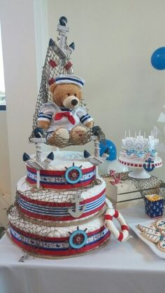 nautical theme diaper cake cutie patootie cakes pinterest windeltorte windelkuchen und. Black Bedroom Furniture Sets. Home Design Ideas