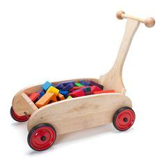 Wooden Push Wagon In Toddler Toys – Nova Natural Toys & Crafts Toddler Toys, Baby Toys, Kids Toys, Wooden Educational Toys, Wooden Wagon, Push Toys, Woodworking For Kids, Natural Toys, Toy Craft