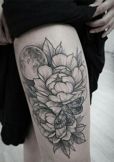 Flowers, Moon and Moth Tattoo