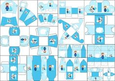 Frozen Baby Blue Christmas: Free Printable Boxes.