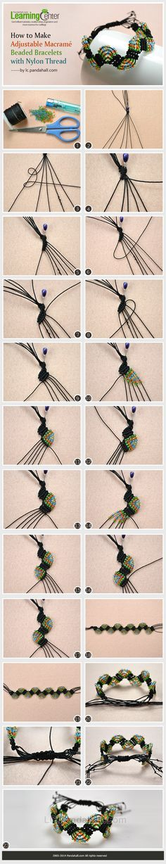 How to Make Adjustable Macramé Beaded Bracelets with Nylon Thread