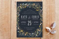 Minted wedding invitations 2015 features fresh, modern floral designs that include floral wreaths and handpainted watercolor bouquets.