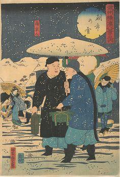 Asa ichi no yukiSnow at an Early Morning Market [Chinese shopping for vegetables], Utagawa Yoshitora (Japanese, active ca. 1850–80), Polychrome woodblock print; ink and color on paper, Japan