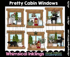 Pretty Cabin Windows Clip Art - Commercial Use, Digital Image, Clipart - Instant Download - Prim, Primitive, Rustic, Woodland, Mason Jar by ResellerClipArt on Etsy