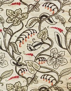 Crewel-work hanging of a floral design, late 17th century (wool embroidery on linen).