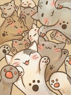 Oodles of super kawaii kitties. #cats #art #cute