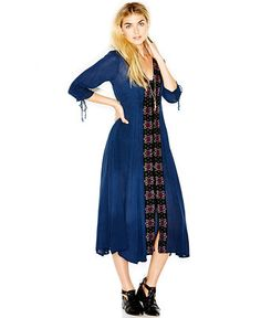Free People Journey To The Horizon Three-Quarter-Sleeve Embroidered Midi Dress - Dresses - Women - Macy's