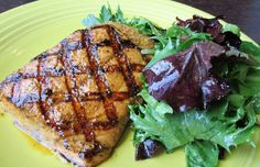 Grilled Steelhead Fillet with Pesto Potato Croquette and Baby Greens with lemon-thyme vinaigrette. #SPORT