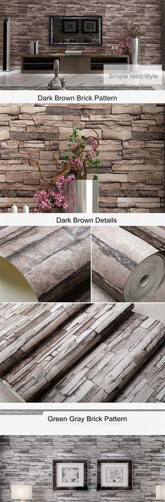EU Direct | 10M 3D Wallpaper Roll PVC Brick Grain Waterproof Wallpaper Natural Wood Pulp Dul