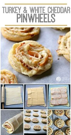 Turkey and White Cheddar Pinwheels Pinwheels are delicious, quick and easy snacks or appetizers, made with puff pastry. This recipe for Turkey and White Cheddar Pinwheels makes a great lunch for kids, too. Finger Food Appetizers, Yummy Appetizers, Appetizers For Party, Appetizer Recipes, Snack Recipes, Cooking Recipes, Parties Food, Wrap Recipes, Detox Recipes