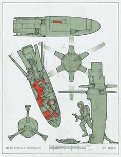 Ron Cobb - Speculative Technology, similiar to the novel, Starship Troopers, drop pods. Spaceship Concept, Concept Ships, Sci Fi Weapons, Weapon Concept Art, Military Weapons, Military Art, Cyberpunk, Arte Robot, Robot Art