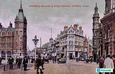 Hull postcard post card - Victoria Square and King Edward Street, Hull