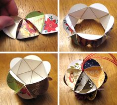 make keepsake ornament out of recycled christmas cards - looks easy & cute (wondering if should keep kid's birthday cards & make them an ornament each year from those)...
