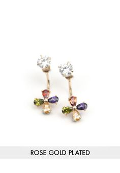 Colourful Flower Gem Swing Earrings