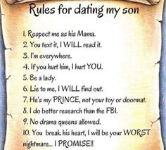 Rules for dating my son, dating