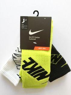 Nike Dri Fit Mens Cotton Crew Socks 3 Pack Large White Volt Black | eBay