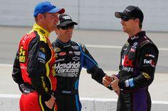#5 Kasey Kahne  #15 Clint Bowyer & #11 Denny Hamlin talk on pit road!