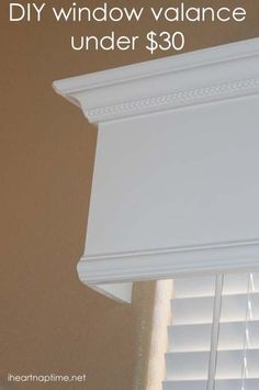 , Tutorial: How to make a wood valance window treatment , I have been staring at the blank window in my living room for a whole year now. I kept thinking about doing a window valance tutorial and then kept pu. Wooden Window Valance, Wooden Windows, Wooden Cornice, Wood Valence, Bath Window, Window Curtains, Bedroom Curtains, Wooden Doors, Wooden Window Design