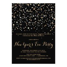gold star confetti new years eve party invitation