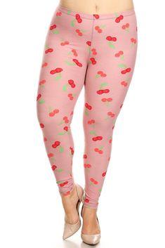 Plus Sized Berry Printed High Waist Full Length Leggings