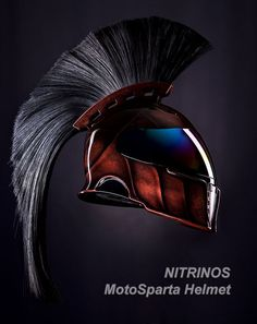 A Spartan motorcycle helmet has the look of powerful warriors from history and can offer protection past the novelty. Motorcycle Helmet Design, Motorcycle Gear, Motorcycle Accessories, Bike Helmets, Women Motorcycle, Custom Helmets, Custom Bikes, Sparta Helmet, Futuristic Helmet