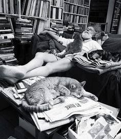 Edward Gorey and his cats.