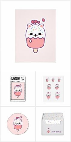 Kawaii business cards for your cute business personalize these pink kitty birthday party colourmoves