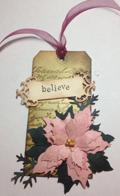 Tim Holtz Hand Made Christmas Tag using Sizzix die and Distress Inks