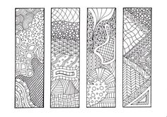 Zendoodle Bookmarks DIY, Zentangle Inspired Printable Coloring, Digital Download, Sheet 1 via Etsy