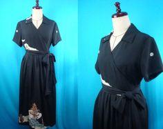 Black kimono dress short-sleeved used kimono of by PriscillaTokyo
