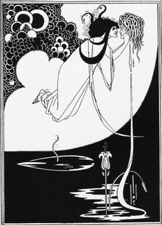What I was holding in my hands was no print. It was an incredibly rare illustration: The Climax, an original drawing by British Art Nouveau illustrator Aubrey Beardsley. Art And Illustration, Ink Illustrations, Illustrator, Japanese Woodcut, Jugendstil Design, Aubrey Beardsley, Inspiration Art, Tattoo Inspiration, Alphonse Mucha