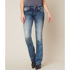 Rock Revival Sundee Boot Stretch Jean - Blue 23/30 ($164) ❤ liked on Polyvore featuring plus size women's fashion, plus size clothing, plus size jeans, blue, slim fit bootcut jeans, zip jeans, mid rise bootcut jeans, rhinestone jeans and slim stretch jeans