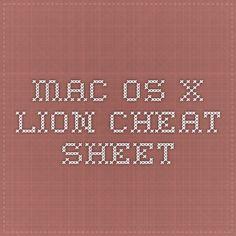 Mac OS X lion - Cheat Sheet